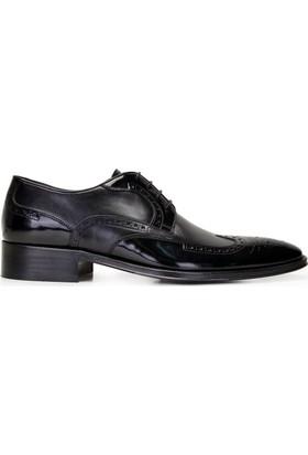Nevzat Onay Bağcıklı Siyah Deri Kösele Erkek Ayakkabı