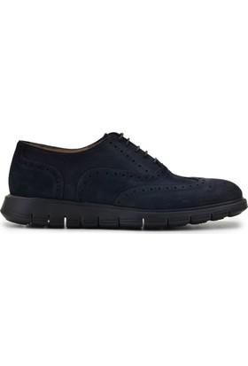 Nevzat Onay Bağcıklı Koyu Lacivert Süet Günlük Deri Erkek Ayakkabı