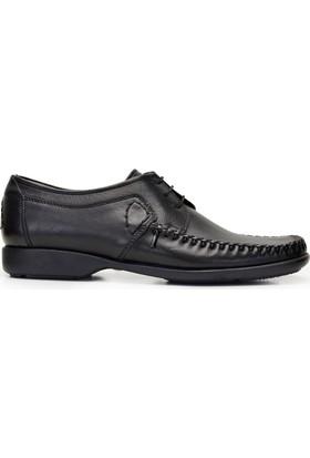 Nevzat Onay Erkek Bağcıklı Siyah Günlük Deri Ayakkabı
