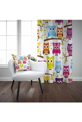 Else Renkli Baykuşlar Bebek Çocuk Odası Modern Desenli Fon Perde
