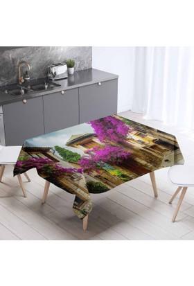 Else Alaçatı Manzara Desenli 3D Dekoratif Mutfak Masa Örtüsü - 140 x 140 cm