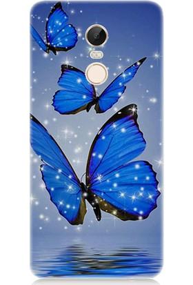 Teknomeg Xiaomi Redmi 5 Plus Mavi Kelebek Desenli Tasarım Silikon Kılıf