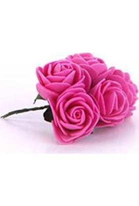 Lateks Eva Yapay Çiçek Gül Fuşya 2 cm* 2 cm 12 Adet= 1 Dal