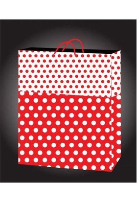 Kikajoy 50 Adet Kırmızı Puantiyeli Karton Çanta 11 cm * 11 cm