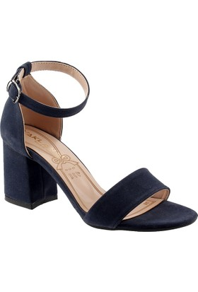 Ayakland 1005-62 Lacivert Süet Bayan Sandalet Ayakkabı