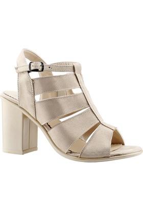 Ayakdaş 1028 Bej Bayan Süet Sandalet Ayakkabı