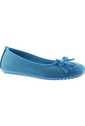 Ccway 1400-İb106 Petrol Günlük Püsküllü Süet Bayan Babet Ayakkabı
