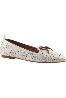Ayakland 4455 Beyaz Günlük Rahat Taban Bayan Babet Ayakkabı