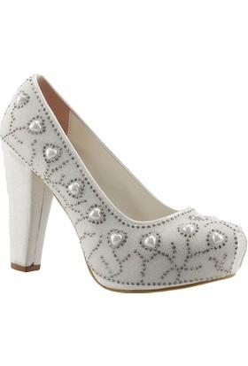 Ceylan 13 Krem Rengi Abiye Gelin Bayan Ayakkabı