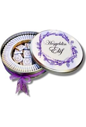 Gondol Çikolata Metal Kutuda İsme Özel Bebek Çikolatası 72 Adet Madlen