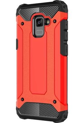 Microsonic Samsung Galaxy A8 2018 Kılıf Rugged Armor Kırmızı