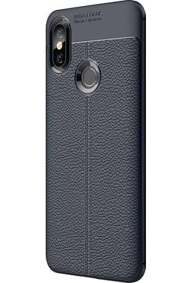 Microsonic Xiaomi Mi 8 Kılıf Deri Dokulu Silikon Lacivert