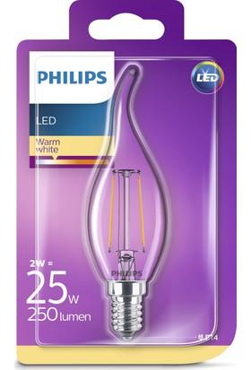 Philips LED Filament 25W 2700K Sarı Işık E14 İnce Duy Mum Tipi