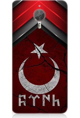 Teknomeg General Mobile Discovery Gm5 Plus Göktürkçe Türk ve Bayrak Desenli Tasarım Silikon Kılıf