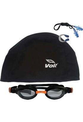 Voit Glider Yüzücü Gözlüğü -Siyah-Turuncu+Voit Bone Siyah+Kulak Burun Tıkacı Set