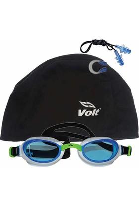 Voit Glider Yüzücü Gözlüğü -BYZ-YŞL+Voit Bone Siyah+Kulak Burun Tıkacı Set