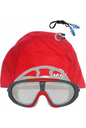 Voit Storm Yüzücü Gözlüğü+SYH KRM +Voit Bone Kırmızı+Kulak Burun Tıkacı