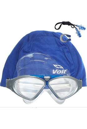 Voit Ultra Yüzücü Gözlüğü Gri-Mavi+Voit Bone Mavi +Kulak Burun Tıkacı