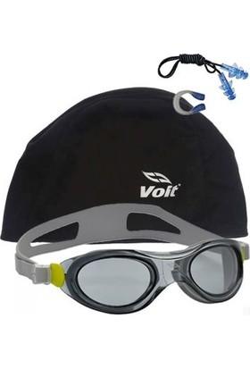 Voit Action Yüzücü Gözlüğü Gri+Voit Bone Siyah+Kulak Burun Tıkacı Seti