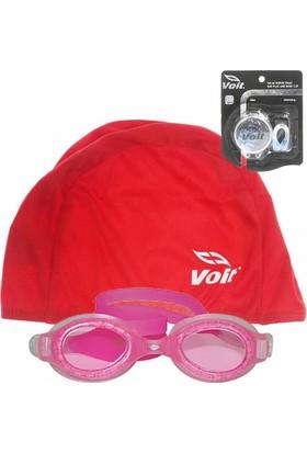 Voit Sphere Çocuk Yüzücü Göz.Pmb+Voit Bone Kırmızı+Kulak Burun Tıkacı Seti