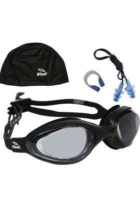 Voit Spear Yüzücü Gözlüğü_Siyah+ Kulak Burun Tıkacı Set+ Voit Bone