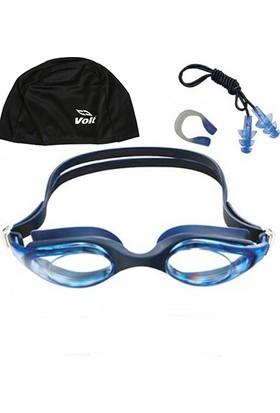 Voit Mix Yüzücü Gözlüğü_Mavi+Voit Bone Siyah+Kulak Burun Tıkacı Seti