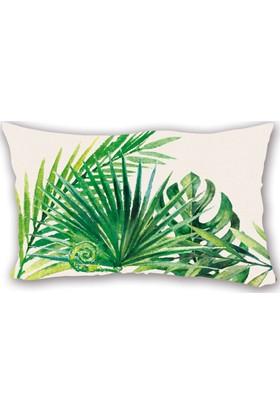 Mrs Pillow Palm 2 Desenli Kırlent Arkası Baskılı