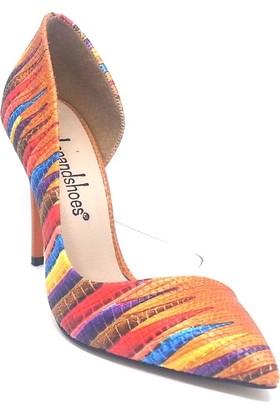 Shop And Shoes 100-1964 Kadın Stiletto Turuncu Multi
