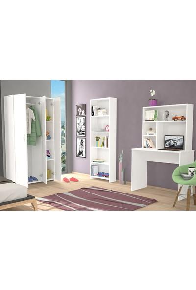 Hepsi Home 3 lü Çalışma ve Genç Odası Takımı (Gardırop + Kitaplık + Çalışma Masası)