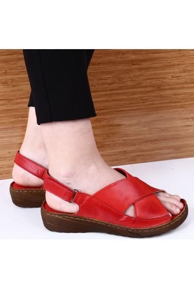 Dgn Kadın İçi Dışı Deri Dolgu Taban Çapraz Yüz Sandalet Prs185 Kırmızı