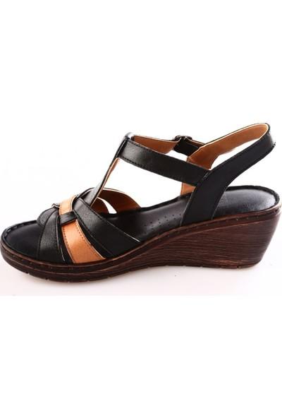 Dgn Kadın 18054 Dolgu Taban T-Strap Sandalet Siyah Taba