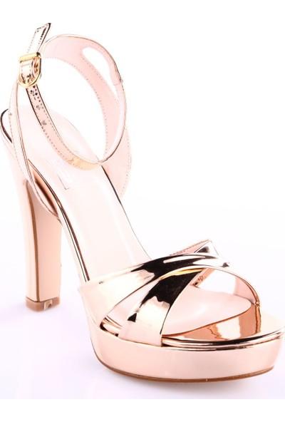 Dgn Kadın 220 Bilekten Bağlı Çapraz Bant 20 mm Platform Lita Topuklu Ayakkabı Rose Ayna