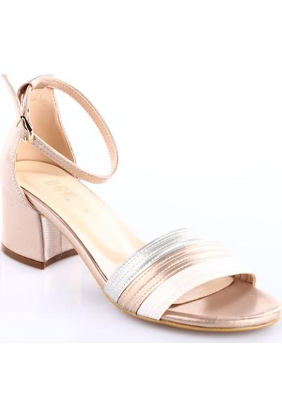 Dgn Kadın 30124 Bilekten Bağlı Kısa Topuklu Sandalet Roz Saten Multi