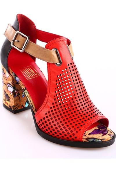 Dgn Kadın 3389 Lazerli Multi Topuklu Sandalet Kırmızı - Siyah