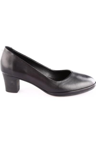 İloz Kadın 380708 Yuvarlak Burun Topuklu Ayakkabı Siyah