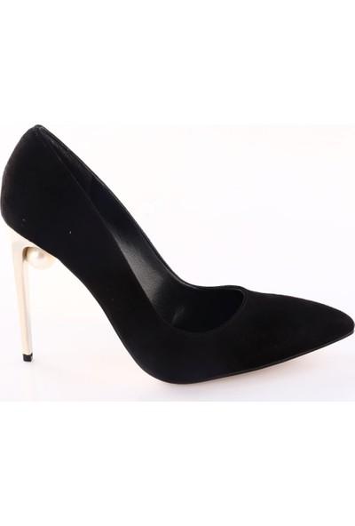 Lescarpe Kadın 415 Sivri Burun Topuğu İnci Taşlı Çivi Topuklu Ayakkabı Siyah Süet