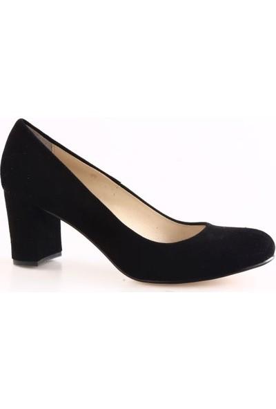 Dgn Kadın 418 Yuvarlak Burun 9 Pont Topuklu Ayakkabı Siyah Süet