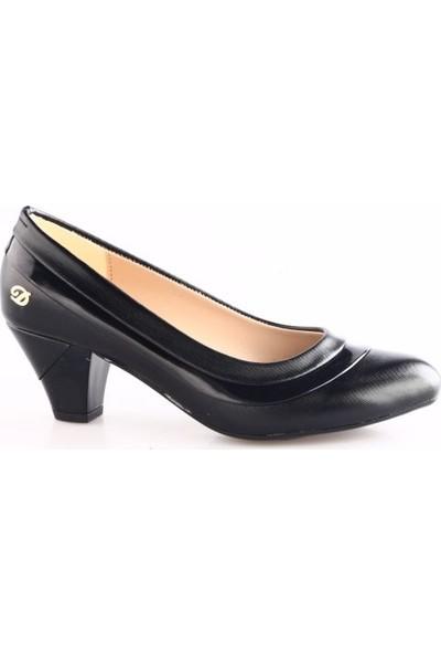 Dgn Kadın 438 Yuvarlak Burun Alçak Topuklu Ayakkabı Siyah Lazer
