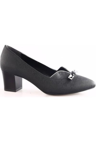 Beety Kadın 442 Sivri Burun Kısa Topuklu Ayakkabı Siyah Pier