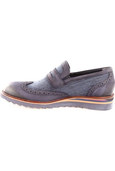 Dgn Erkek 5003 - 1 Eva Taban M Model Klasik Ayakkabı Lacivert Nubuk Bezli