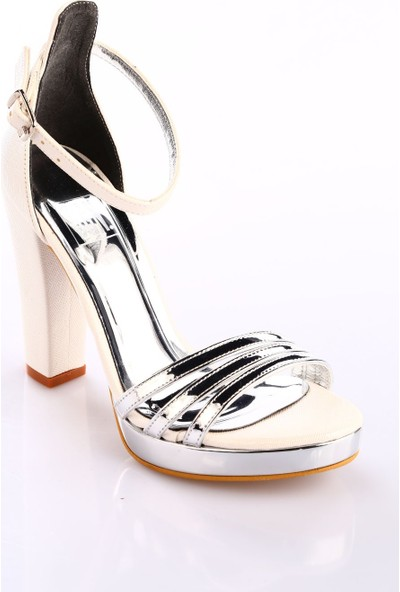 Dgn Kadın 501 Bilekten Bağlı 20 mm Platform Lita Topuklu Ayakkabı Sedef Gümüş