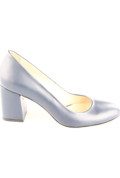 Dgn Kadın 5102 Küt Burun 11 Pont Kalın Topuklu Ayakkabı Lacivert