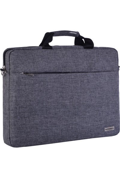 "Nossen NB-1050 15.6"" Gri - İç Astar Gri Lüx Keten Notebook Çantası"