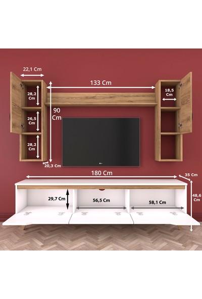 Rani D1 Duvar Raflı Kitaplıklı Tv Ünitesi Duvara Monte Dolaplı Ahşap Ayaklı Tv Sehpası Ceviz Beyaz M27