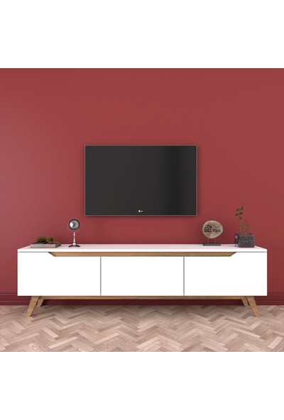 Rani D1 Tv Duvar Ünitesi Ahşap Ayaklı Tv Sehpası Ceviz Beyaz