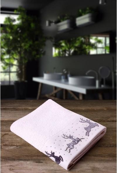 Jua 50 x 70 cm Geyik İşlemeli Beyaz Havlu