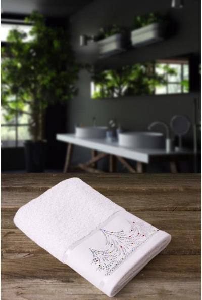 Jua 50 x 70 cm Taşlı Çam Ağaclı Bordürlü Beyaz Havlu