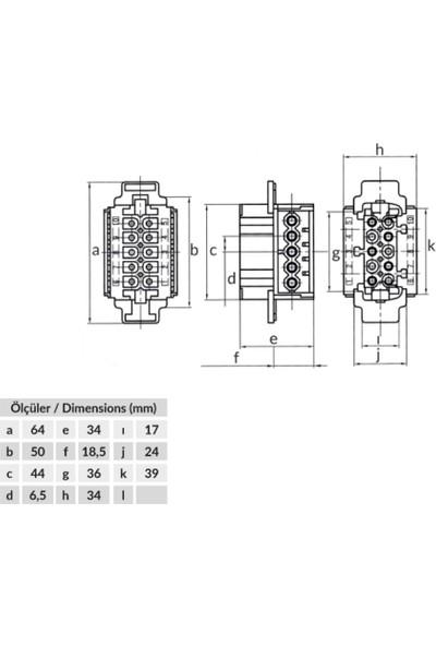 Bemis 16A 10P Çok Kontaklı Priz Çekirdeği
