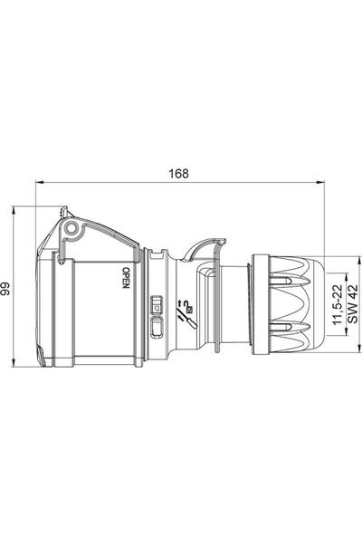Mete Enerji 32A Cee Norm Uzatma Prizi Ip44 3P+N+E Vidalı