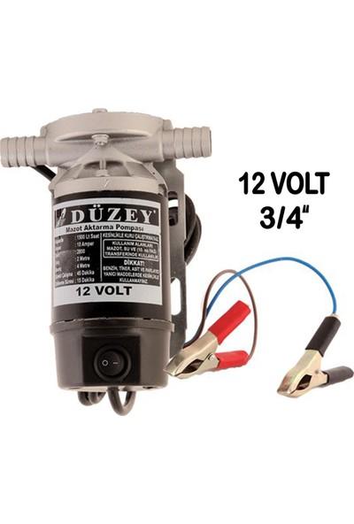 """Düzey 3/4""""-12 Volt Dıştan Çıkışlı Alüminyum Gövde Sıvı Transfer Pompası - Mazot Aktarma"""
